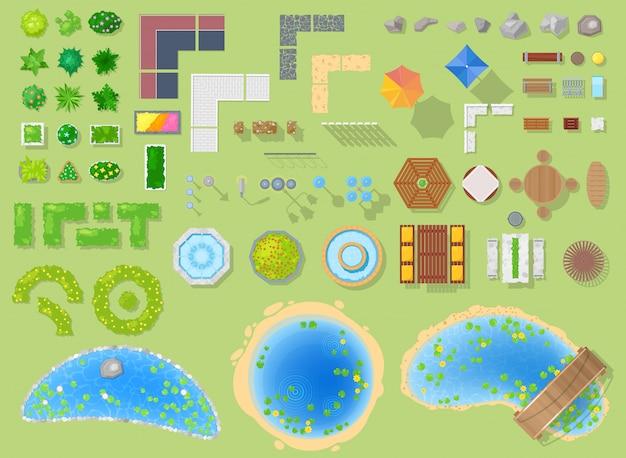 緑の庭の木と噴水または背景の都市景観におけるパークウェイの都市イラストセットの池と公園の公園の風景 Premiumベクター