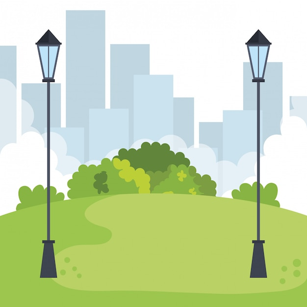 Park landscape with lamps scene Free Vector