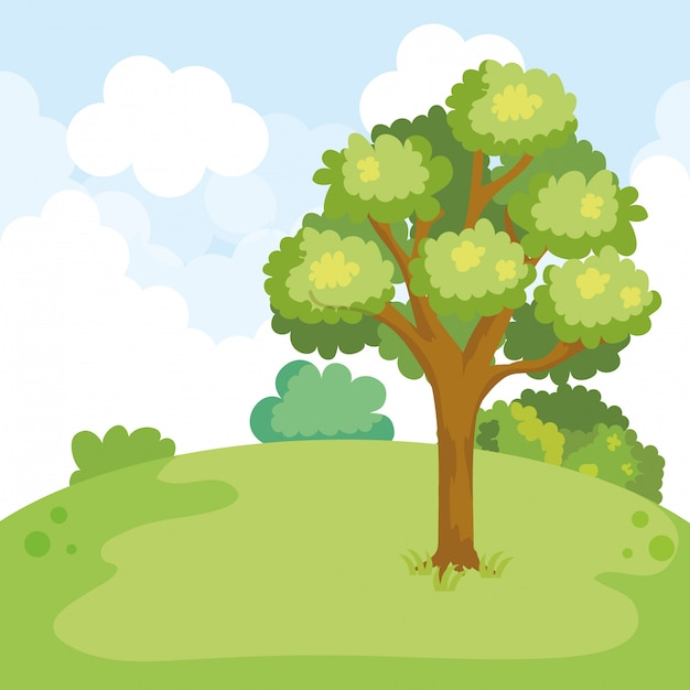 Park landscape with tree scene Free Vector