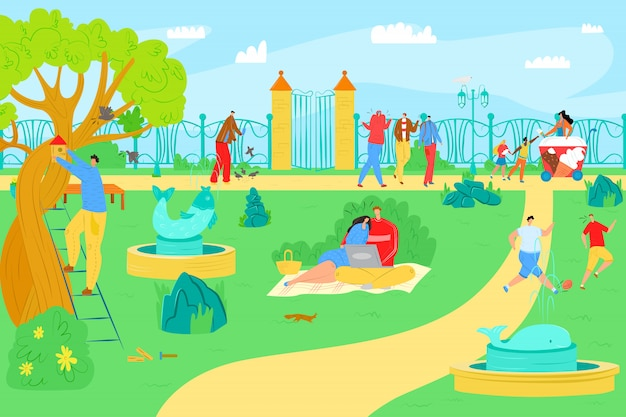 Park leisure at cartoon outdoor summer,  illustration. man woman people character at city nature, lifestyle activity. sport at grass landscape,  happy walk and recreation. Premium Vector