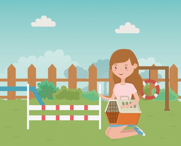 Park for mascot and girl cartoon design Free Vector