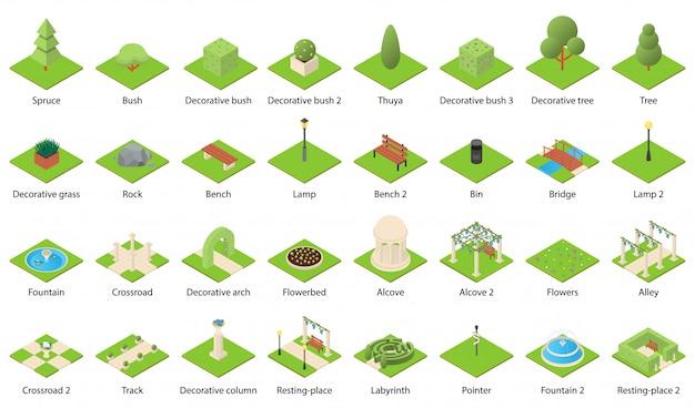 Park nature elements icons set Premium Vector
