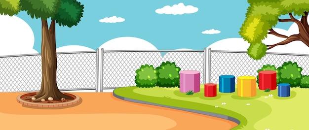 空白の空のある学校のシーンの公園または遊び場 無料ベクター