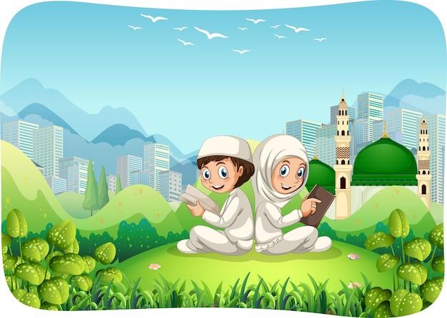 イスラム教徒の姉と弟の漫画のキャラクターと公園の屋外シーン 無料ベクター