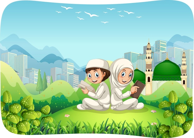 Park outdoor scene with muslim sister and brother cartoon character Free Vector