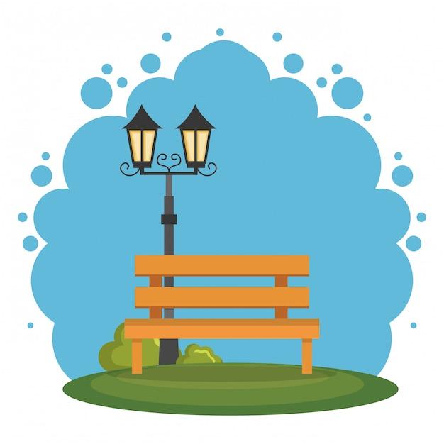 Park scene landscape icon Free Vector