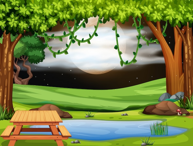 A park scene at nigh Free Vector