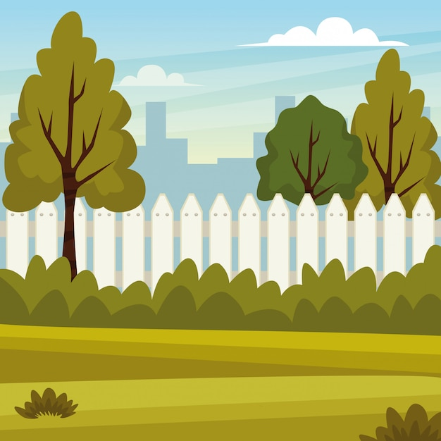 Park scenery nature and city Free Vector