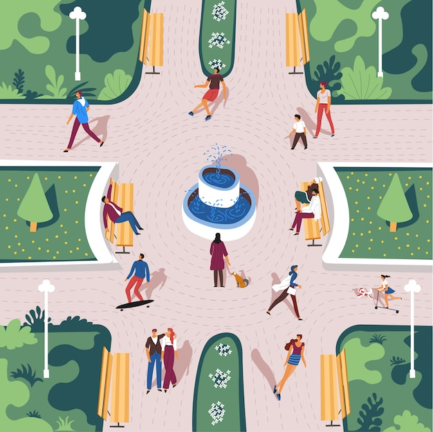 Park with citizen in summer, view from top Premium Vector
