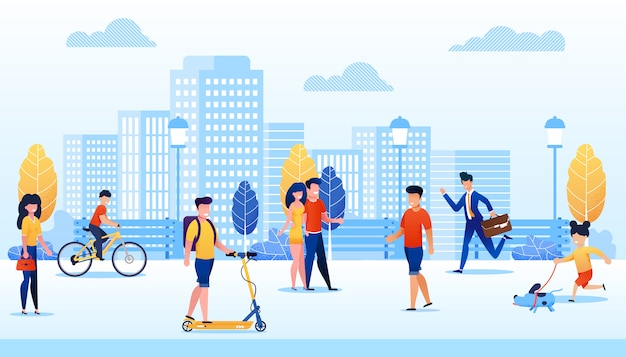 Park with different people flat cartoon vector illustration. man moving on scooter, boy riding bicycle. girl walking with dog. Premium Vector