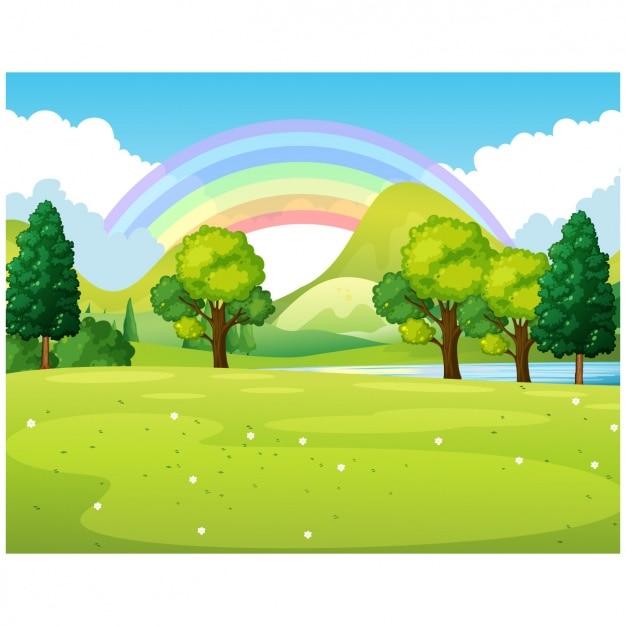 park with rainbow vector | premium download