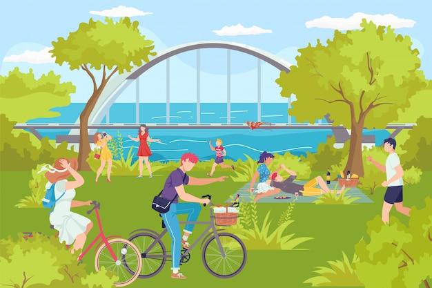 川のある公園、男性女性夏の屋外の残りの図。人々は自然でレジャー活動、家族キャラクターの休暇ライフスタイル。都市公園の風景、木、ベンチを歩きます。 Premiumベクター