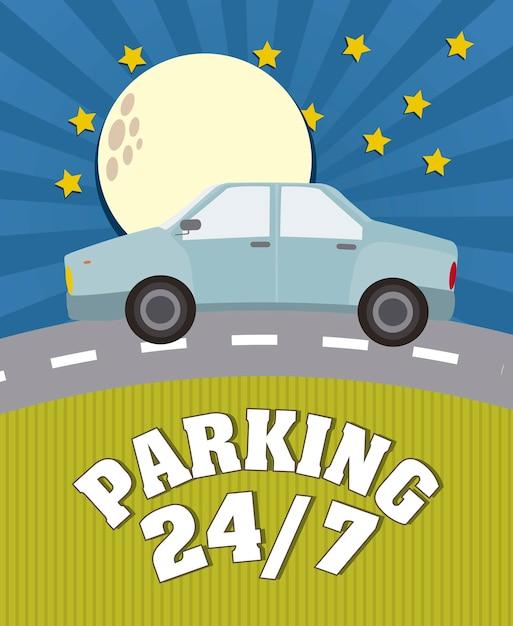 Parking anouncement in the night vector illustration Premium Vector
