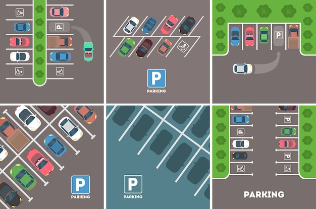 Parking in city set. cars with parking spaces. Premium Vector