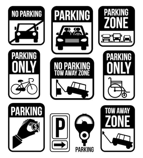 白図に駐車場デザイン Premiumベクター