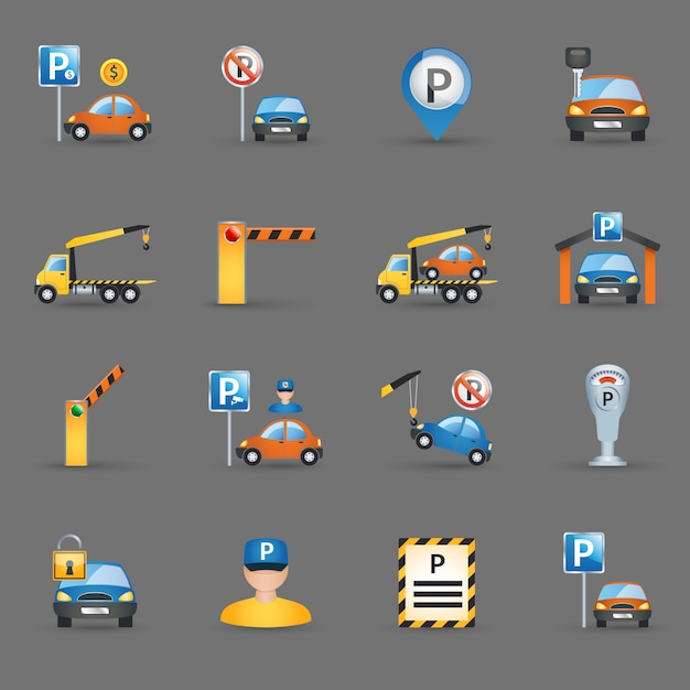 Parking facilities flat icons graphite background Free Vector