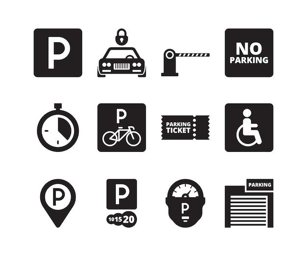 Parking icon. transportation silhouette symbols cars bikes cash garage vehicles park collection set. illustration park vehicle garage, transport location service illustration Premium Vector