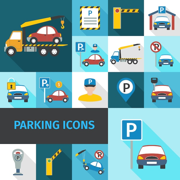 Parking icons flat Free Vector