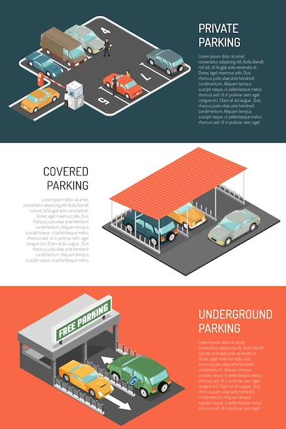 Parking isometric banners set Free Vector