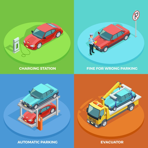 Parking isometric collection Free Vector