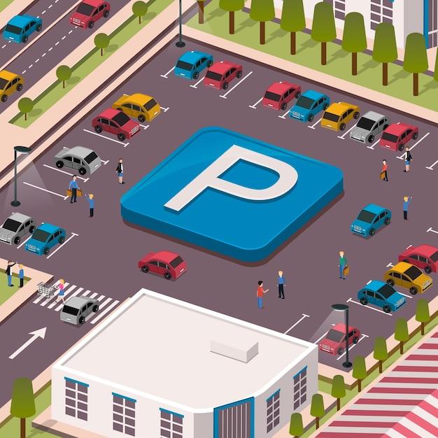 Parking lot concept in 3d isometric flat design Premium Vector