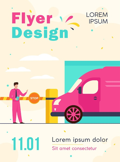 Parking lot security flyer template Free Vector
