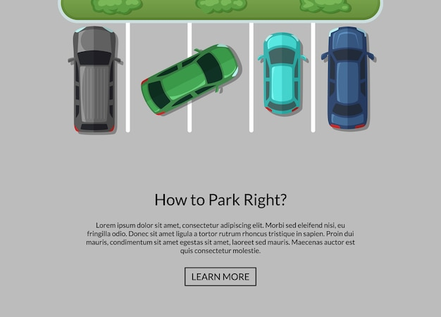 Parking lot with cars Premium Vector