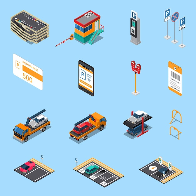 Parking lots facilities isometric icons set with multilevel garage pass ticket and tow truck isolated Free Vector