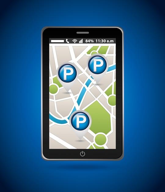 Servizio di parcheggio, mappa mobile Vettore gratuito