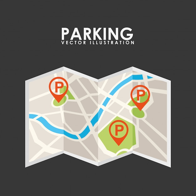 Parking service, paper map Free Vector