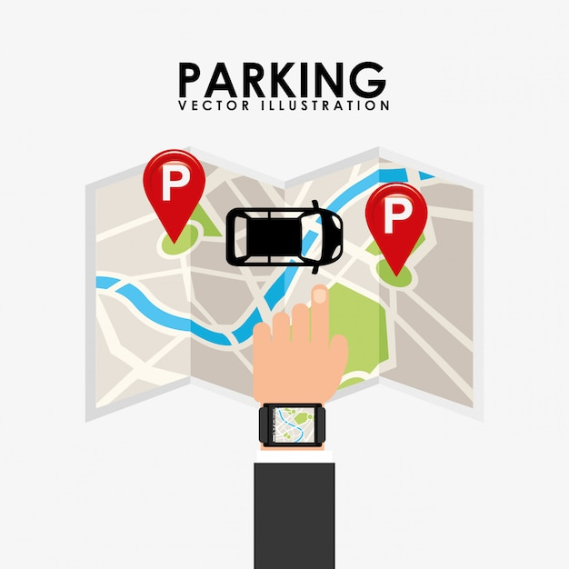 Parking service, touch map Free Vector