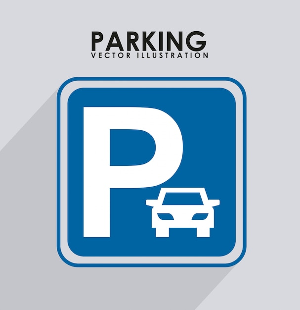 Parking signal over ray background vector illustration Premium Vector