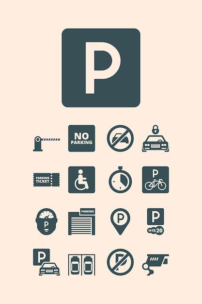 Parking symbols. paid money garage auto park cars bikes buses automatic parking systems  set. Premium Vector