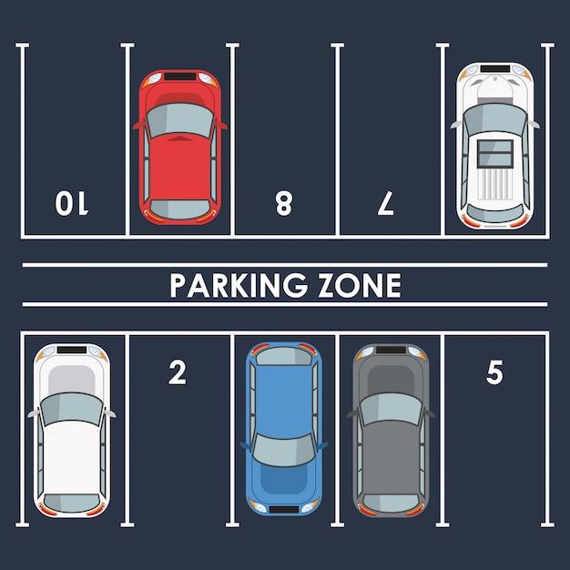 Parking zone top view Premium Vector