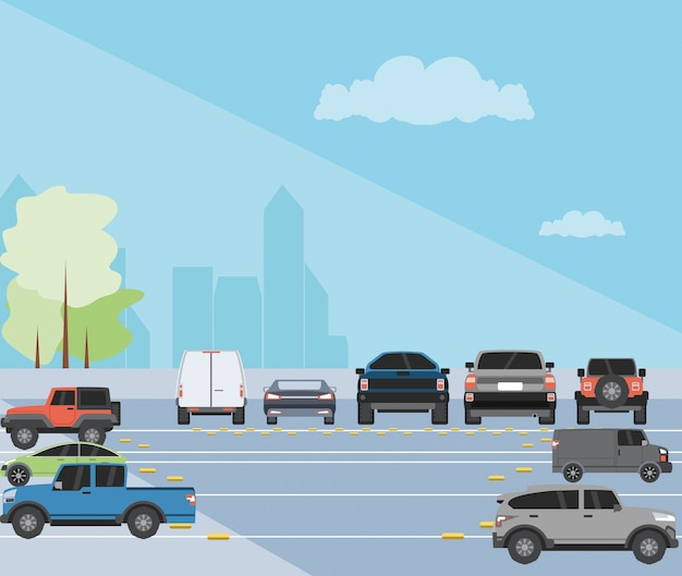Parking zone urban scene illustration Premium Vector