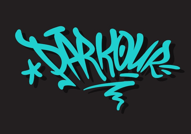 Parkour brush lettering type design graffiti tag style Premium Vector