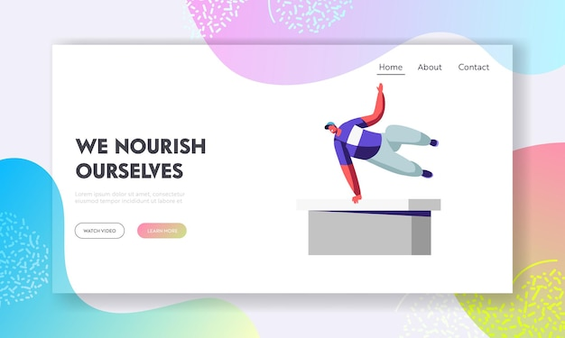 Parkour in city. young man freerunner training outdoors jumping over walls doing tricks website landing page Premium Vector