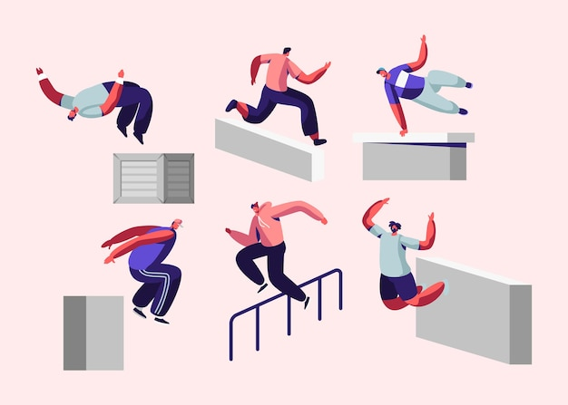 Parkour in city. young men jumping over walls and barriers, urban sports, active lifestyle, sport activity. Premium Vector