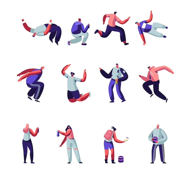 Parkour and graffiti characters set. Premium Vector