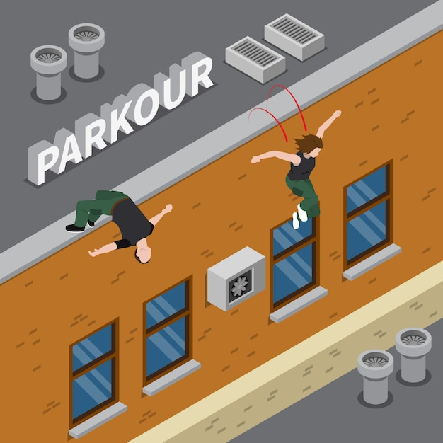 Parkour isometric illustration Free Vector