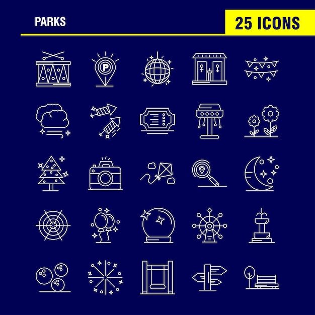 Parks line icons Free Vector