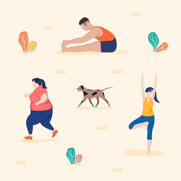 Parks and outdoor activities, practicing yoga, running, and stretching. Premium Vector