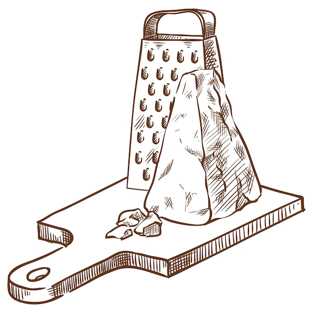 Parmesan on the board and a grater vector sketch hand drawing Premium Vector
