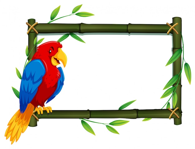 Parrot on bamboo frame Free Vector