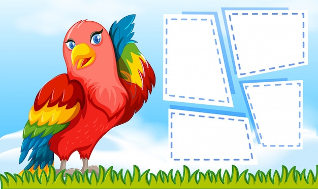 A parrot on blank note Free Vector