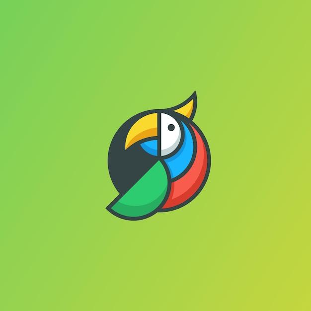 Parrot geometric concept illustration vector template Premium Vector