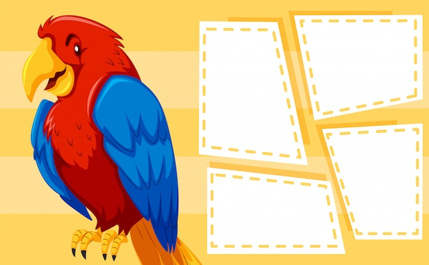 Parrot on note template Free Vector