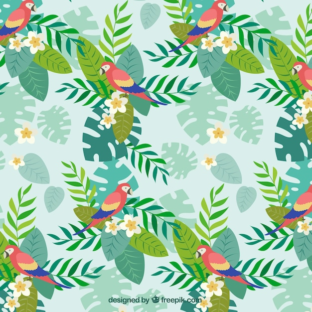 Parrot with palm leaves pattern Free Vector