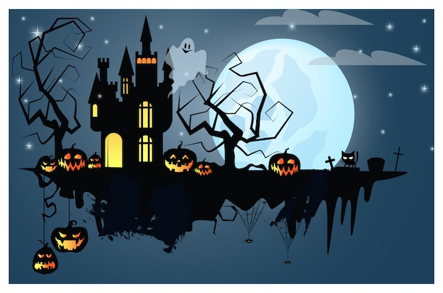 Part of ground with halloween characters illustration Premium Vector