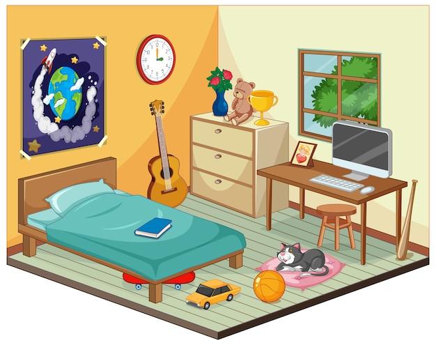 漫画のスタイルで子供のシーンの寝室の一部 無料ベクター